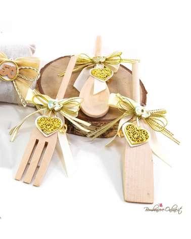 """Cucchiaio in legno con decorazione cuore oro """"50° Anniversario"""""""