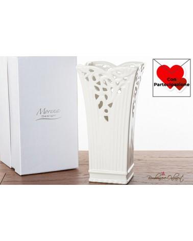 Bomboniere Matrimonio Morena: Vaso medio in ceramica bianca traforata