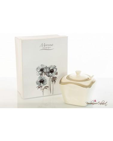 Bomboniere Matrimonio Morena: zuccheriera in porcellana bianca e platino