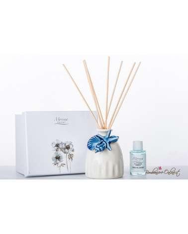 Bomboniere Matrimonio Morena: Profumatore in porcellana bianca e decorazioni conchiglie blu