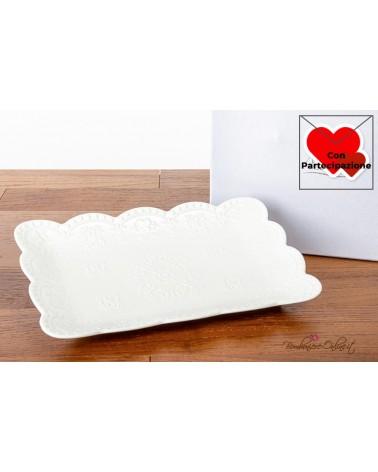 Bomboniere Matrimonio Morena: Vassoio rettangolare in porcellana bianca decorata