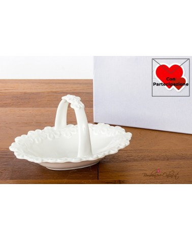 Bomboniere Matrimonio Morena: Cestino con manico in porcellana bianca