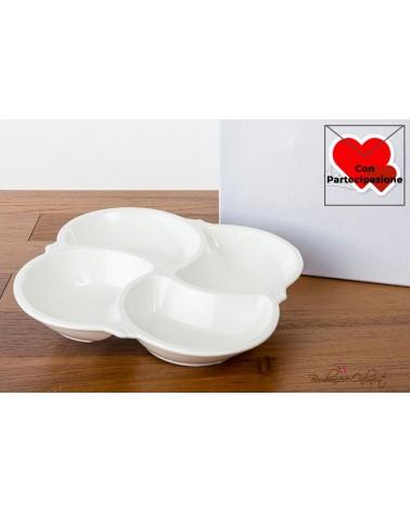 Bomboniere Matrimonio Morena: Antipastiera quadra 4 vani in porcellana bianca