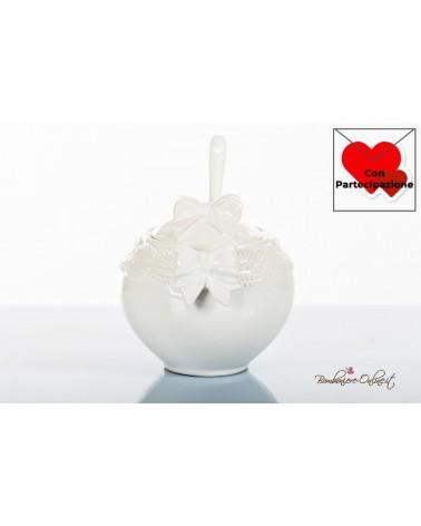 Bomboniere Matrimonio Morena: zuccheriera tonda in porcellana bianca con fiocchi sul coperchio