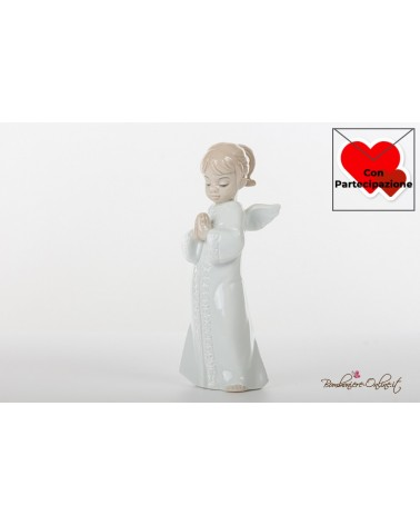 Prima Comunione Morena: angioletto femmina che prega in piedi in porcellana lucida colorata