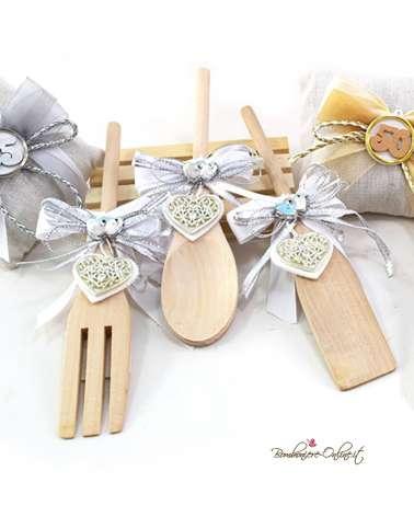 """Cucchiaio in legno con decorazione cuore argento""""25° Anniversario"""""""