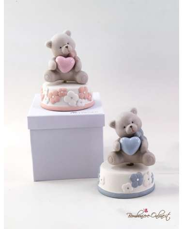 Bomboniera Carillon orsetto in porcellana con cuore