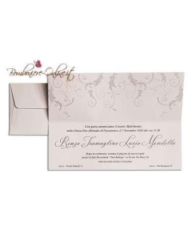 Partecipazione invito nozze economica con decori grigi
