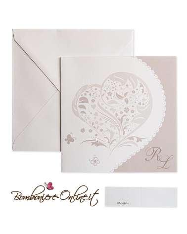 Partecipazione di nozze economica con cuore in carta bianca liscia