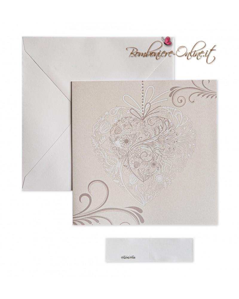 Partecipazione di nozze economica quadrata in carta bianca liscia, formato libro