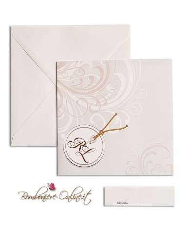 Partecipazione di nozze economica quadrata in carta bianca liscia, con decoro su fronte e medaglione con iniziali sposi