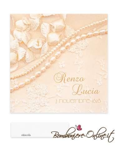 Partecipazione matrimonio economica con decoro collana di perle e pizzo stampato