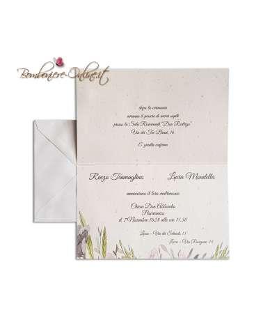 Partecipazione matrimonio economica con cornice floreale multicolore.