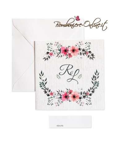 Partecipazione Nozze economica quadrata stampa effetto legno e decoro floreale