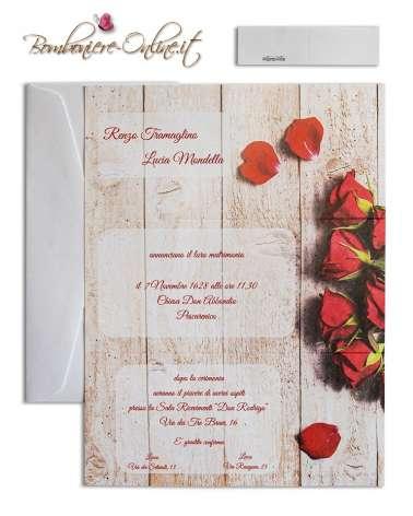 Partecipazione nozze economica rose rosse su legno