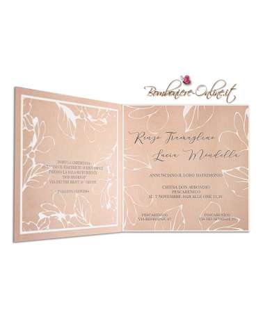 Partecipazione nozze economica color tortora Leaf Design