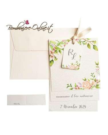 Rosa & Foglia Quadrato Stampata Biglietto d'invito