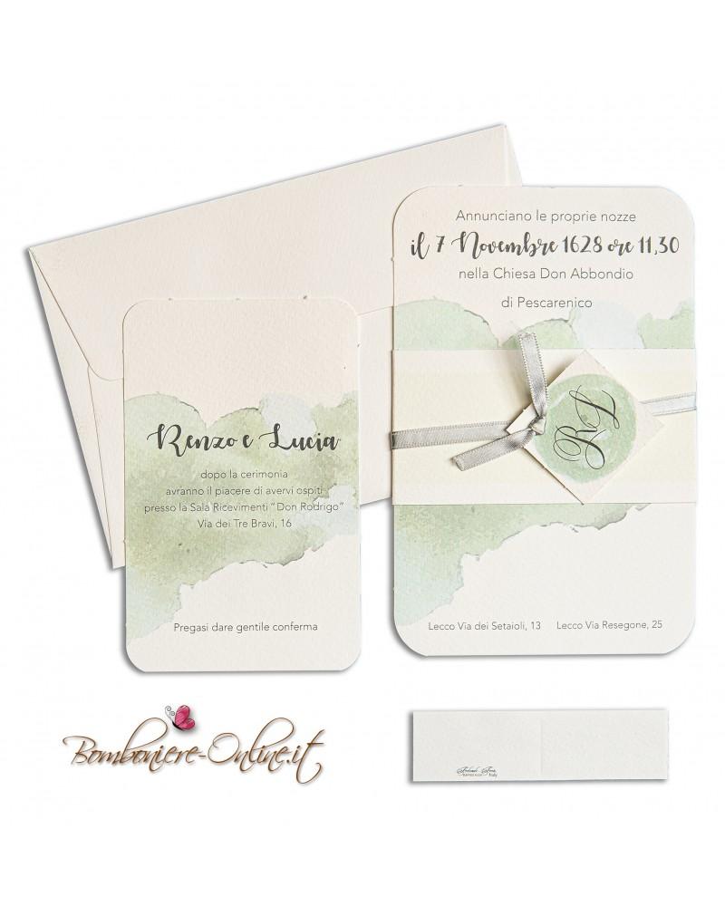 Partecipazione con invito nozze fascia con iniziali decoro acquerello verde Tiffany
