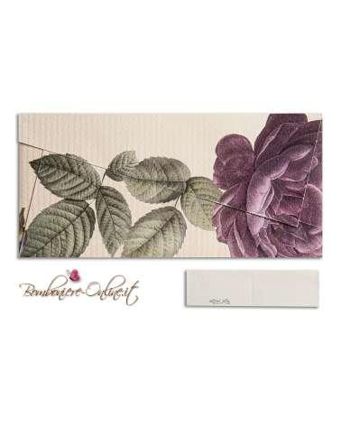 Partecipazione nozze economica busta origami rosa color viola