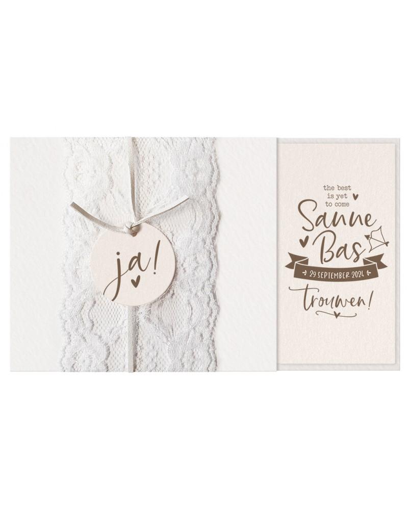 Carta di matrimonio - Carta chic con pizzo