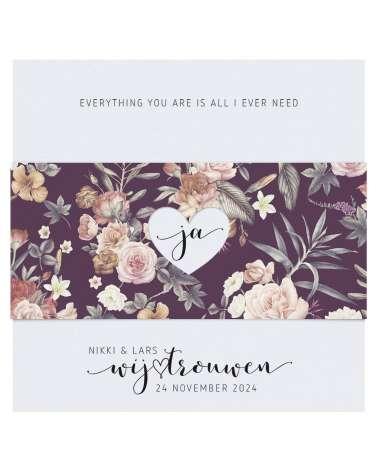 Partecipazione di matrimonio - Decoro floreale classico