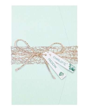 Partecipazione di nozze - Elegante cartella verde menta con etichette