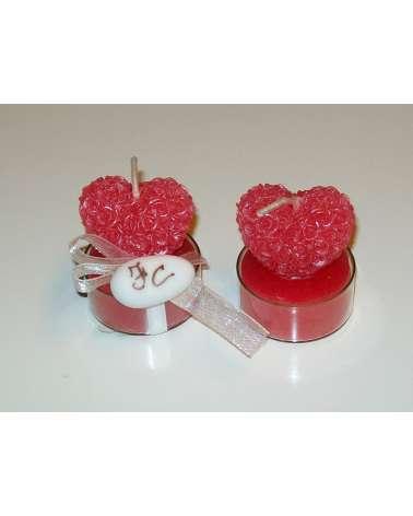 Candela cuore di rose