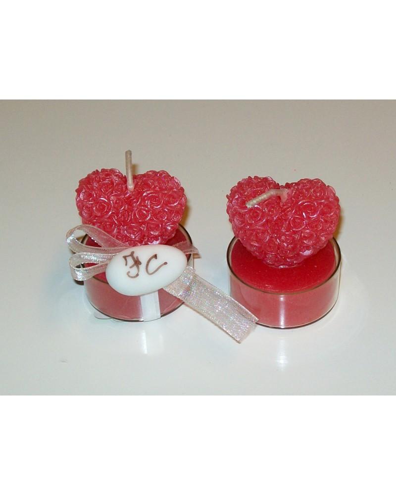 Candela segnaposto candela cuore di rose
