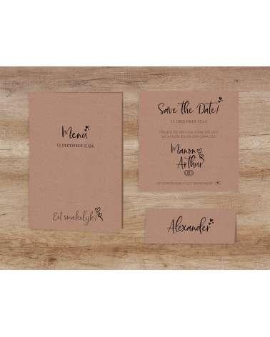 Partecipazioni Matrimonio Kraft.Partecipazione Di Nozze Elegante Carta Di Matrimonio Kraft Con