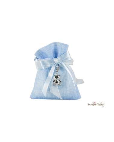 Sacchetto con charm orsetto azzurro