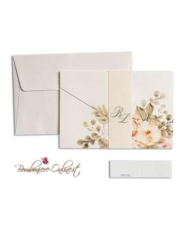 Partecipazione di nozze economica a busta, color avorio e rose, con fascia di chiusura