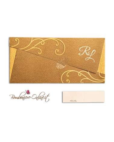 Partecipazione nozze economica busta origami oro e decori