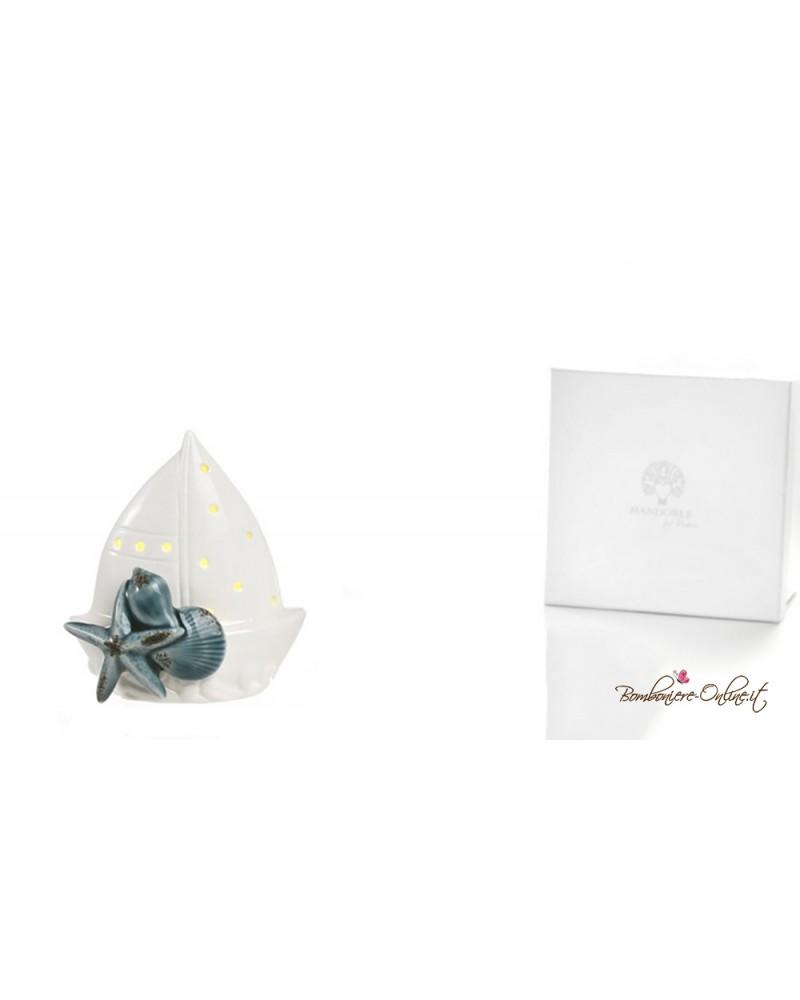 """Barca in ceramica con luce led stella marina e conchiglie serie """"A la plage"""""""
