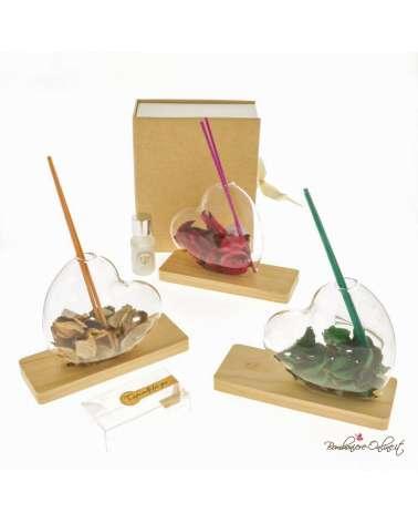 """Bomboniera diffusore in vetro trasparente con base in legno """"Heart color"""""""
