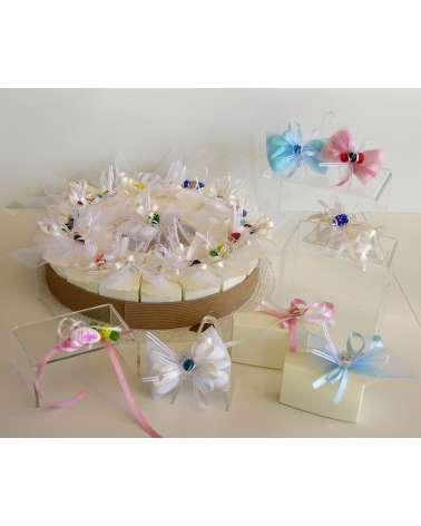 Caramella in vetrofusione su box portaconfetti in cartoncino fetta di torta linea