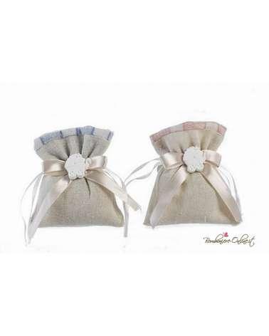 Sacchetto confetti rosa/azzurro con gessetto carrozzina