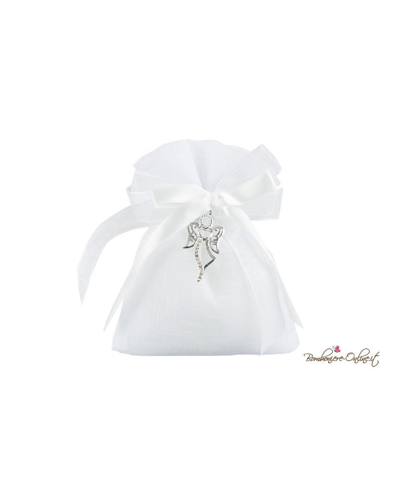 Sacchetto portaconfetti bianco con charme Angelo stilizzato