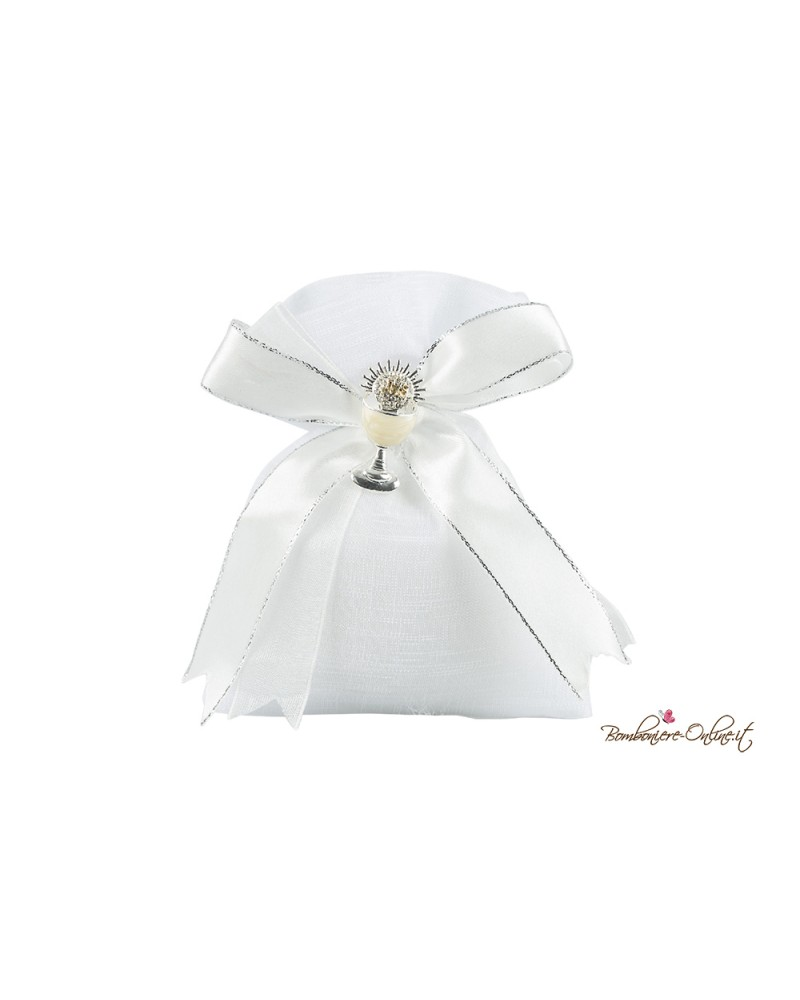 Sacchetto portaconfetti bianco con spilla calice