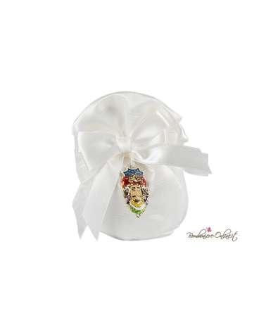 Pochette portaconfetti bianco con ciondolo Moro Re