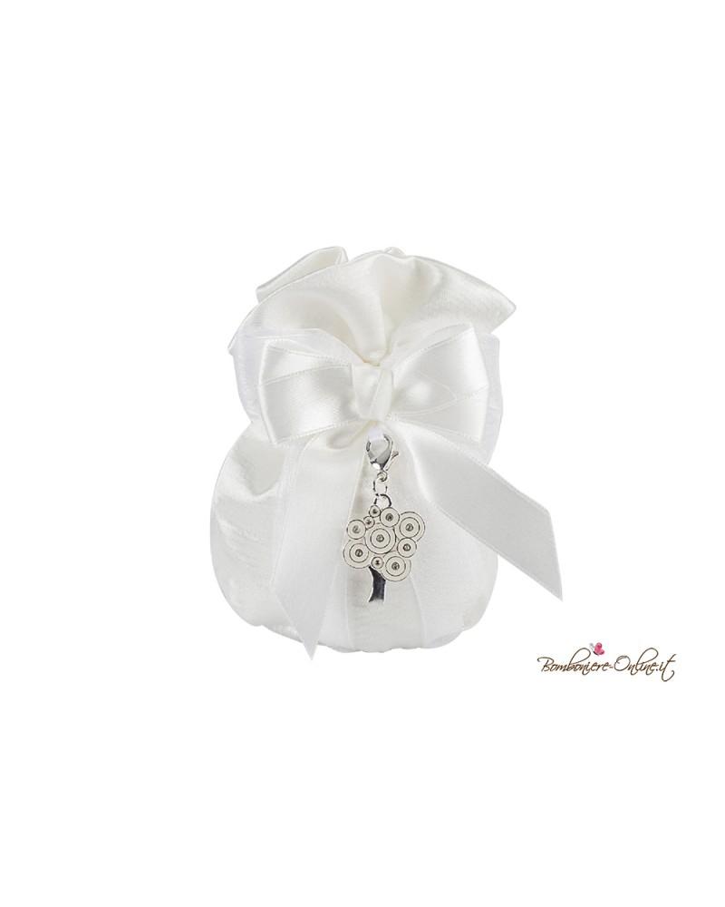 Pochette portaconfetti bianco con ciondolo Albero della vita bianco smaltato