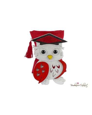 Gufetto bianco e rosso con sacchetto portaconfetti