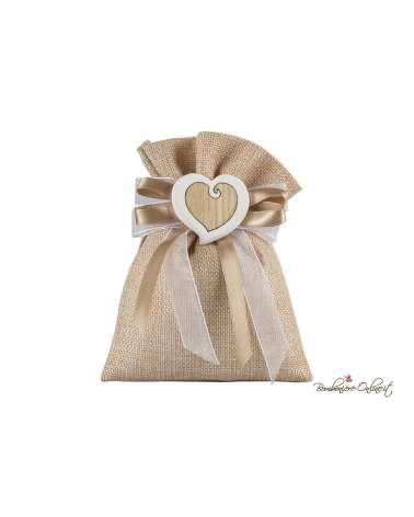 Sacchetto juta con cuore gesso e legno