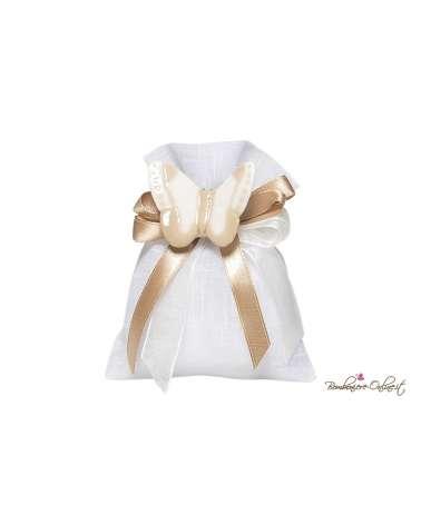 Sacchetto bianco tipo lino con spilla farfalla