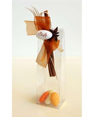Segnaposto o bomboniera box alto confetti trasparente con spezie natuali