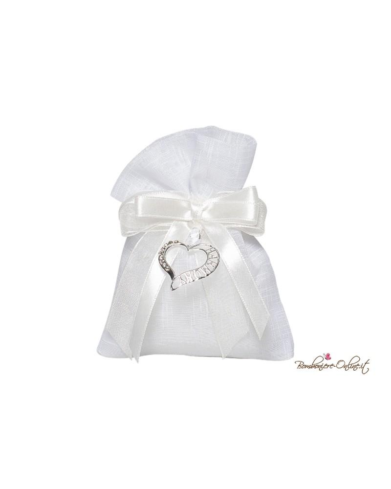 Sacchetto portaconfetti bianco con cuore Harmony