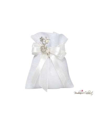 Sacchetto portaconfetti bianco con spilla tralcio