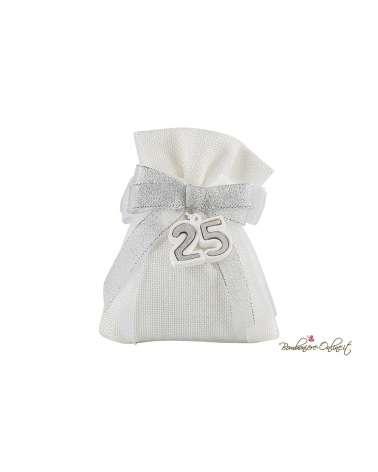 Sacchetto juta bianco con gessetto decoro argento 25 Anni