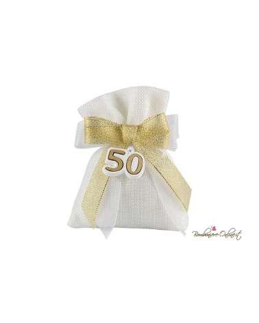 Sacchetto juta bianco con gessetto decoro oro 50 Anni