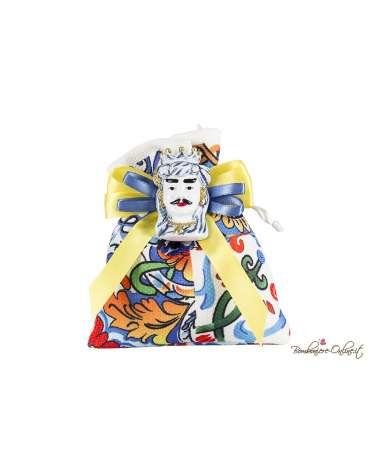 Sacchetto con magnete Testa di Moro uomo blu e oro