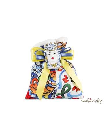 Sacchetto con magnete Testa di moro donna blu e oro